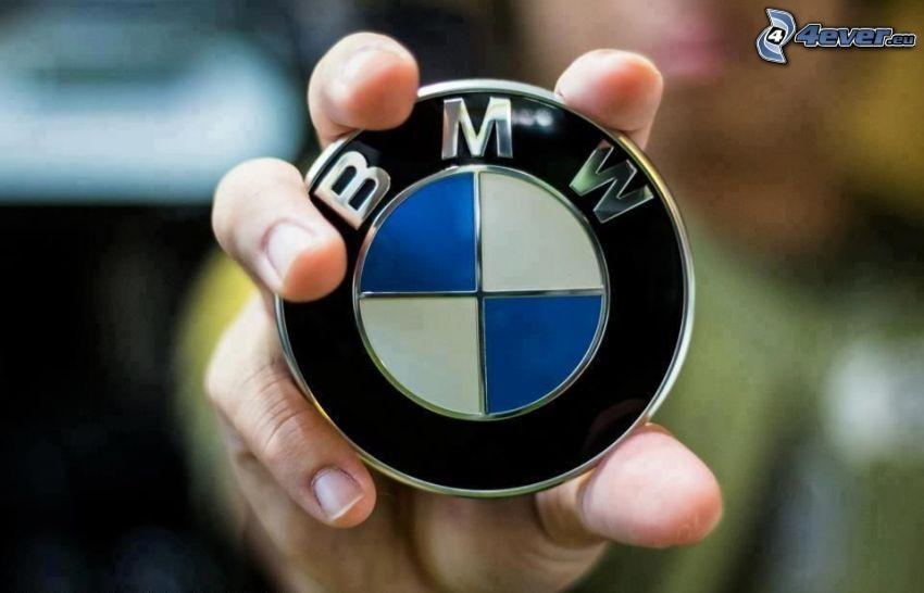 logo, BMW, ręka