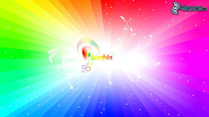 logo, kolorowe paski, poświata
