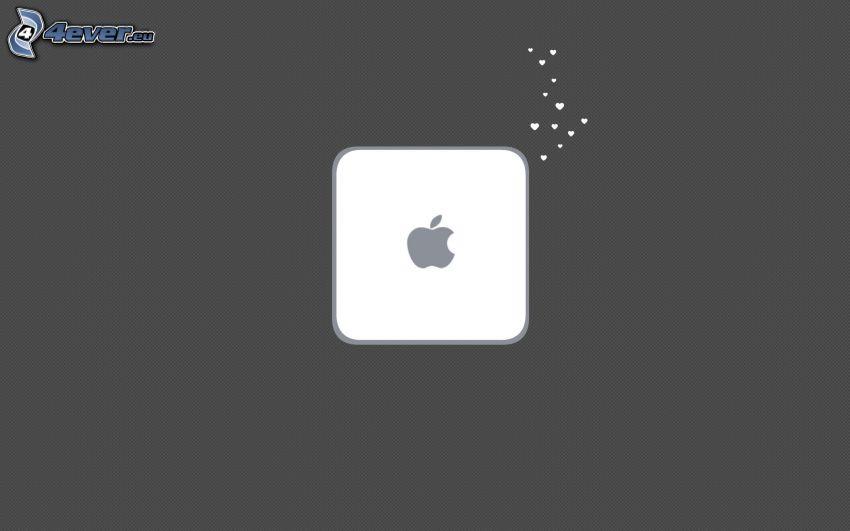 Mac Mini, Apple, kwadrat, serduszka
