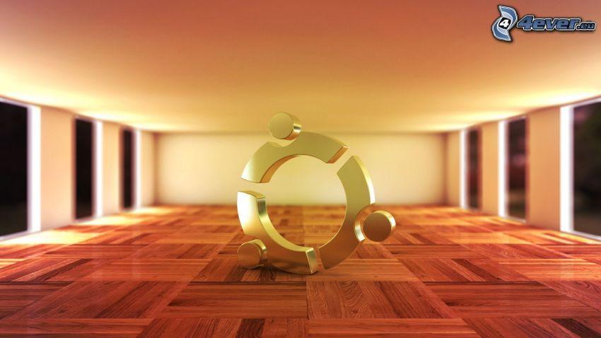 Ubuntu, 3D, drewniana podłoga, pokój