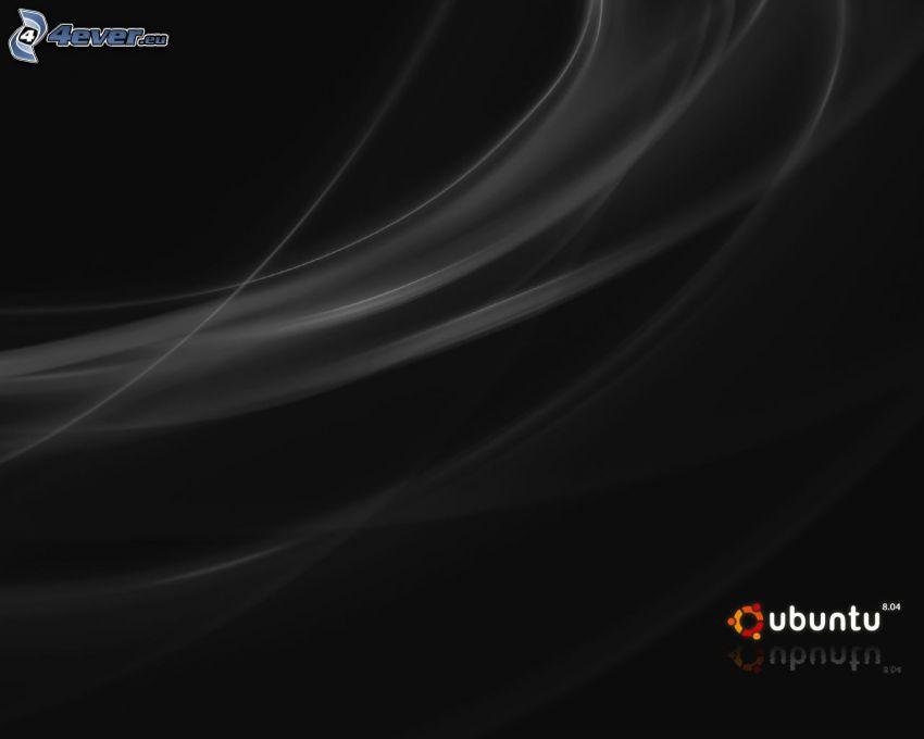 Ubuntu, czarne tło, białe linie
