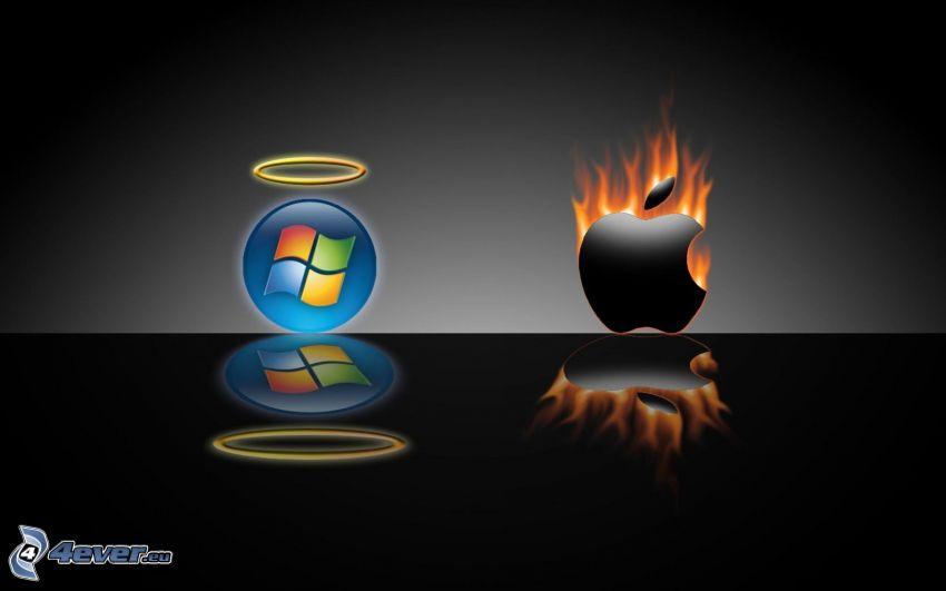 Windows, aureola, Apple, ogień, odbicie
