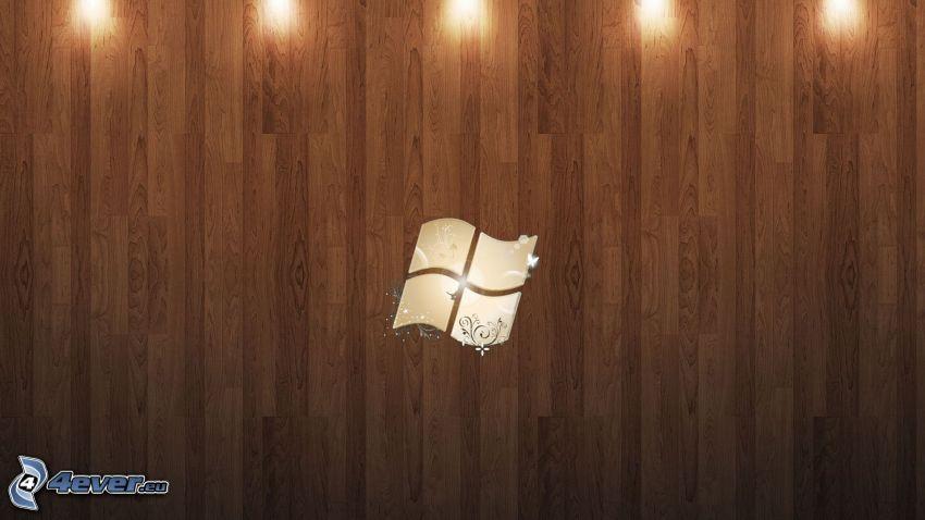 Windows, drewniana ściana