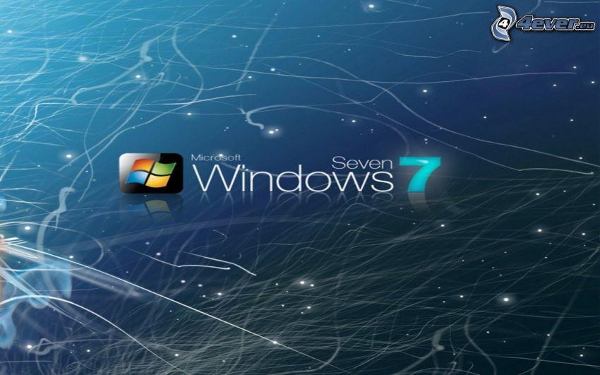 Windows 7, logo, abstrakcyjne linie