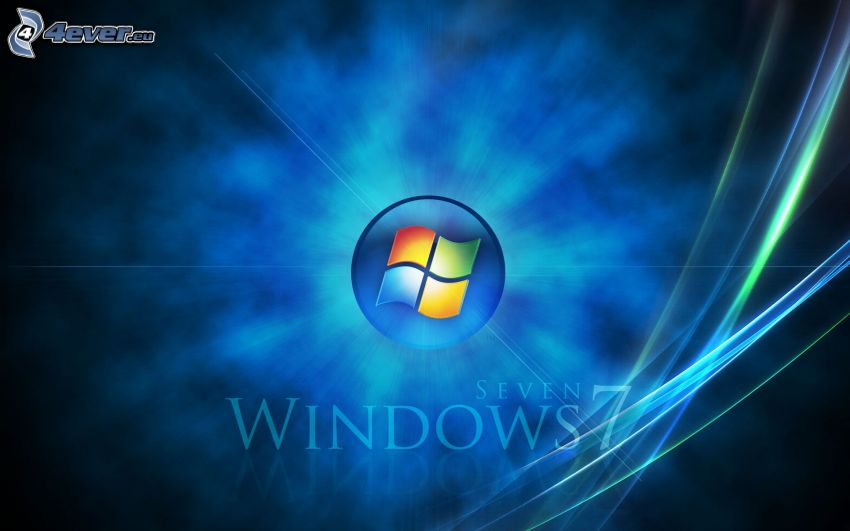 Windows 7, niebieskie linie, niebieskie tło