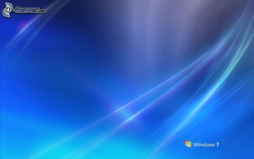 Windows 7, niebieskie tło, białe linie