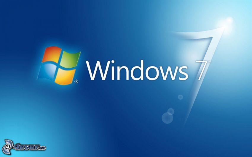 Windows 7, niebieskie tło