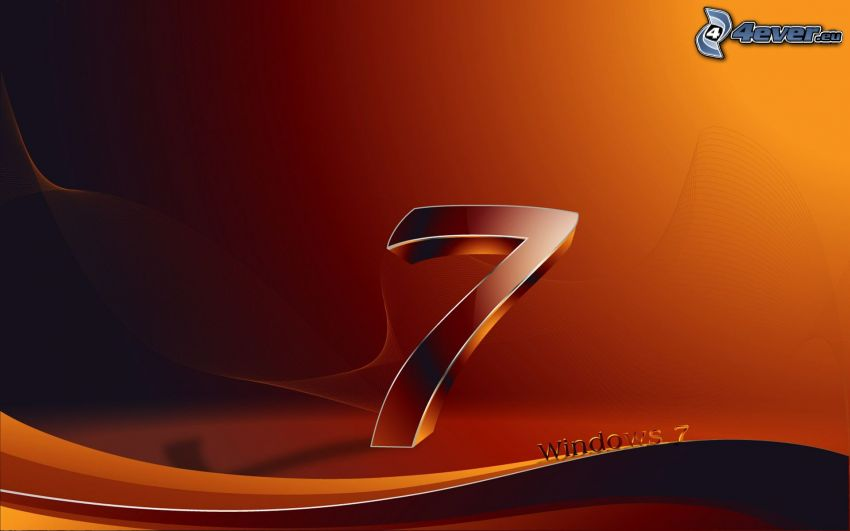 Windows 7, pomarańczowe tło