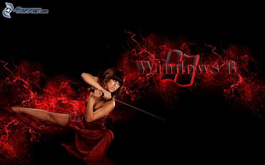 Windows 8, logo, kobieta, miecz