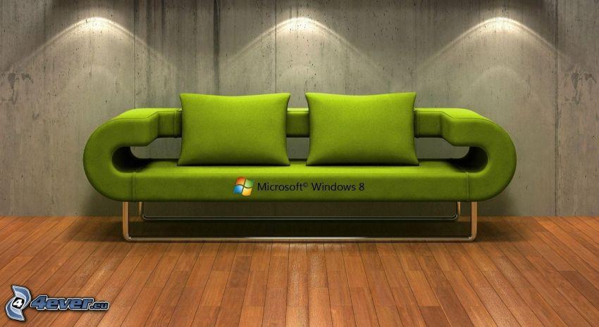 Windows 8, sofa, drewniana podłoga, światła