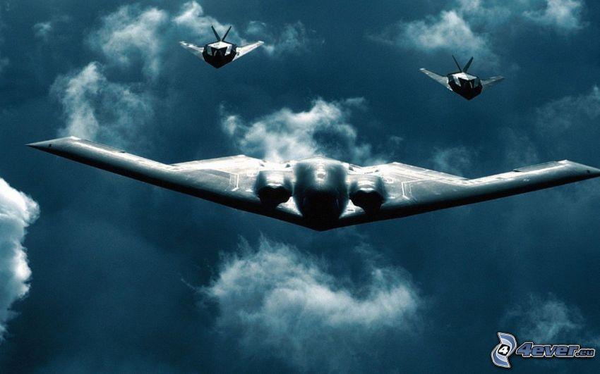 B-2 Spirit, lot, chmury