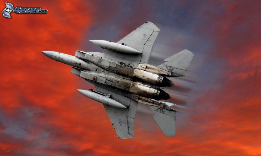 F-15 Eagle, myśliwiec, pomarańczowe niebo