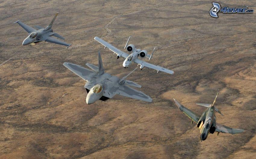 F-22 Raptor, F-16 Fighting Falcon