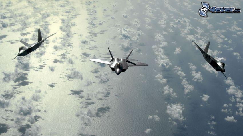 Flota F-22 Raptor, morze, chmury