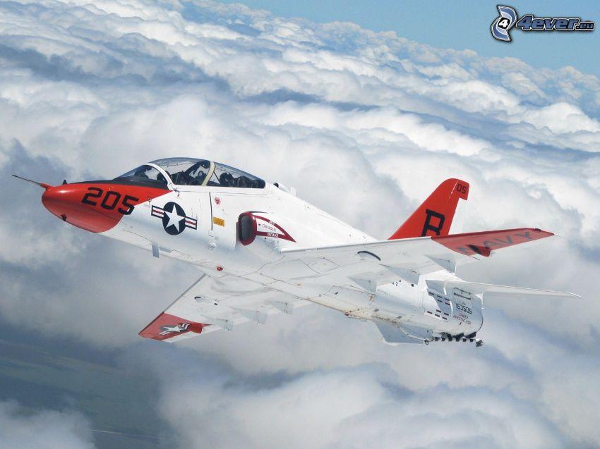 myśliwiec, ponad chmurami