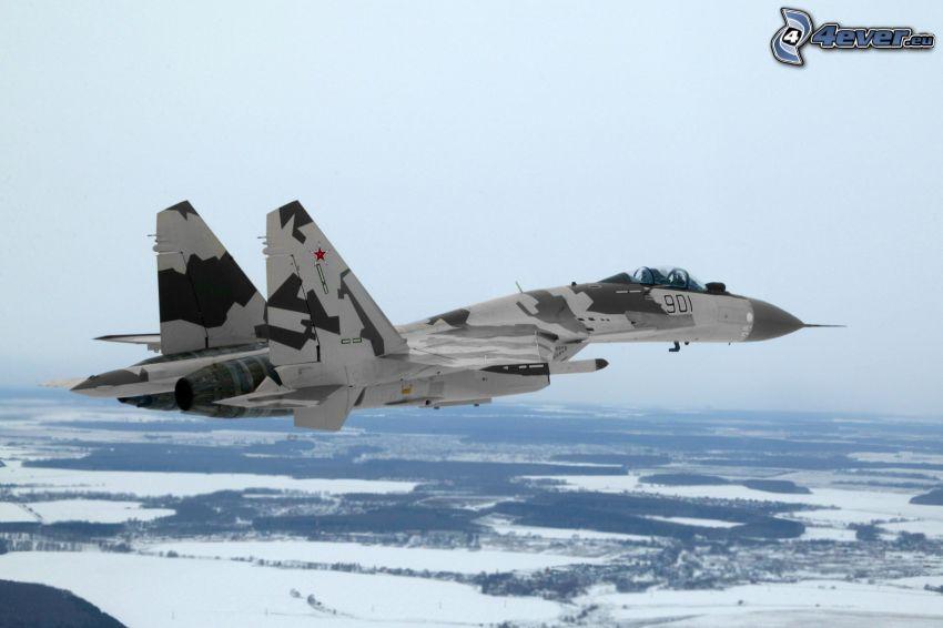 Sukhoi Su-35, śnieżny krajobraz