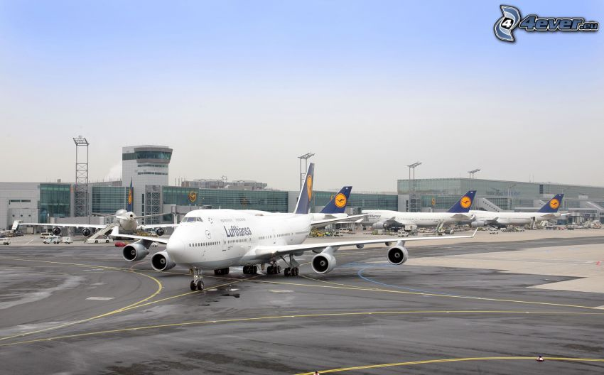 Boeing 747, samolot, lotnisko, Lufthansa