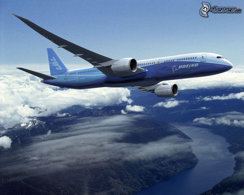 Boeing 787 Dreamliner, samolot, chmury, krajobraz