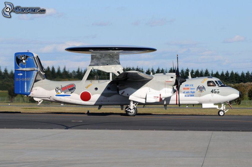 Grumman E-2 Hawkeye, lotnisko, las iglasty