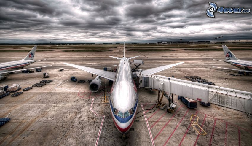 lotnisko, chmury, HDR