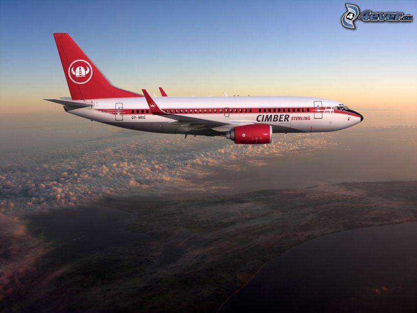 samolot, widok na krajobraz, wschód słońca