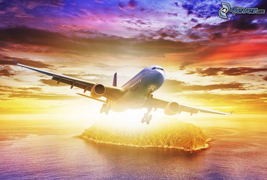 samolot, wyspa, morze, kolorowe niebo