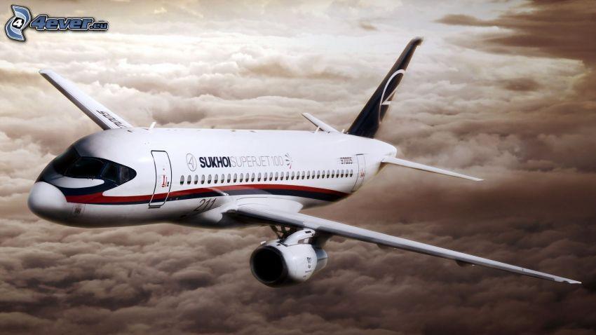 Sukhoi Superjet 100, ponad chmurami