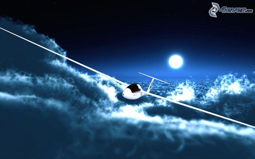 szybowiec, chmury, księżyc, sztuka cyfrowa