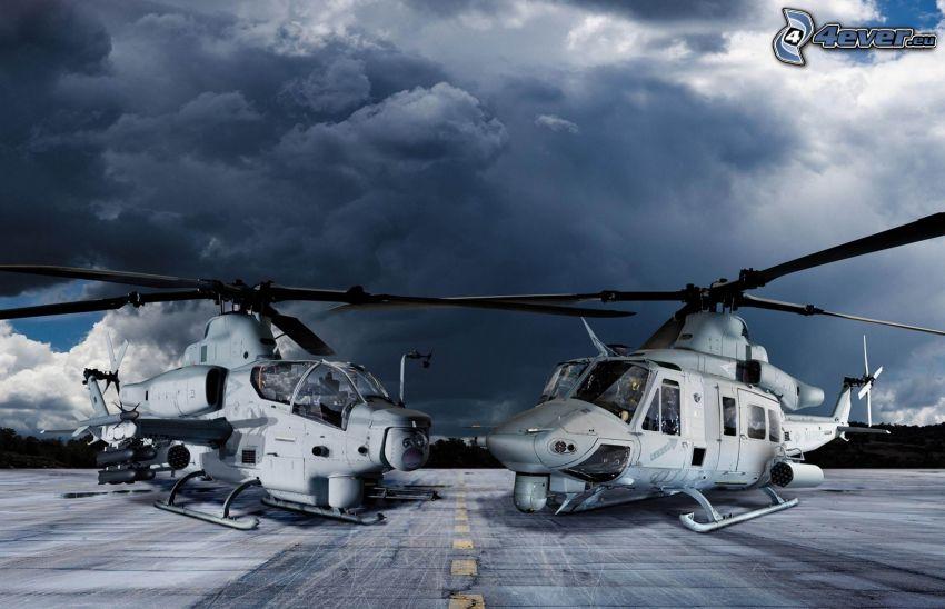 AH-1Z Viper, śmigłowce wojskowe, ciemne chmury, ulica