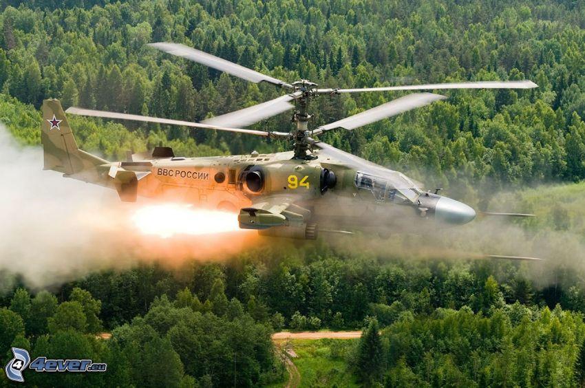 Ka-52, strzał, las