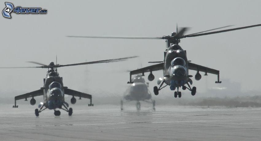 śmigłowce wojskowe, czarno-białe zdjęcie
