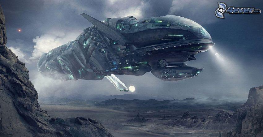 statek kosmiczny, skały, sci-fi