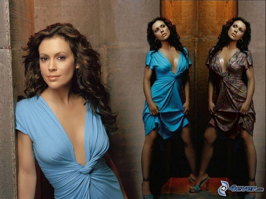 Alyssa Milano, aktorka, Phoebe, Charmed, kobieta z brązowymi włosami, turkusowa sukienka