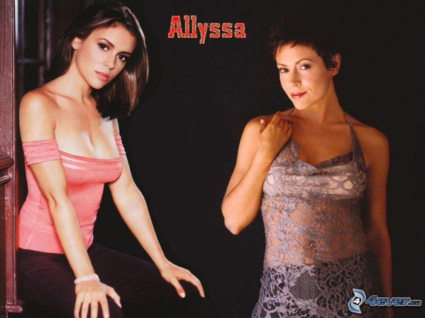 Alyssa Milano, aktorka, Phoebe, czarownice, Charmed, kobieta z brązowymi włosami, różowa koszulka, sukienka z siateczki