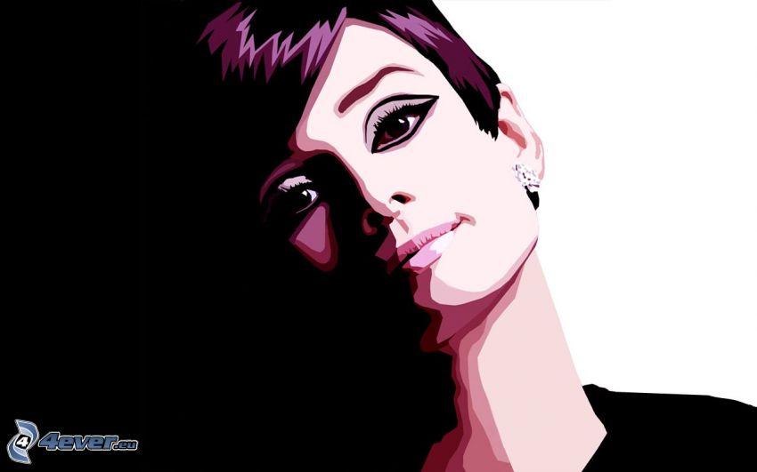 Audrey Hepburn, kobieta narysowana