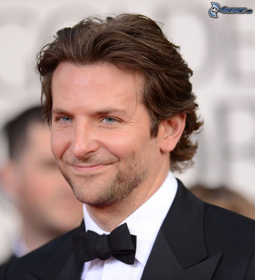 Bradley Cooper, uśmiech, garnitur, muszka
