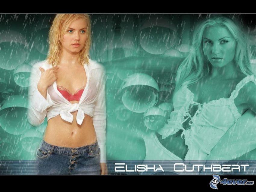 Elisha Cuthbert, blondynka, deszcz