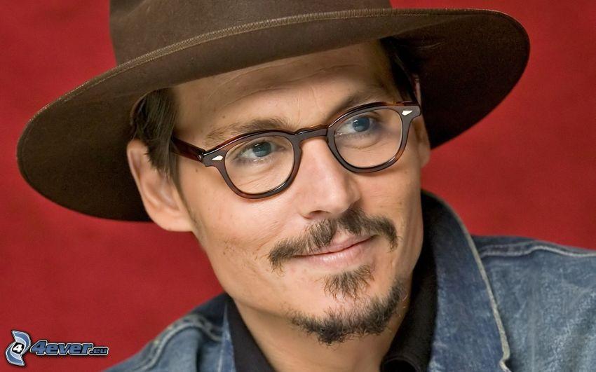 Johnny Depp, aktor, okulary, kapelusz