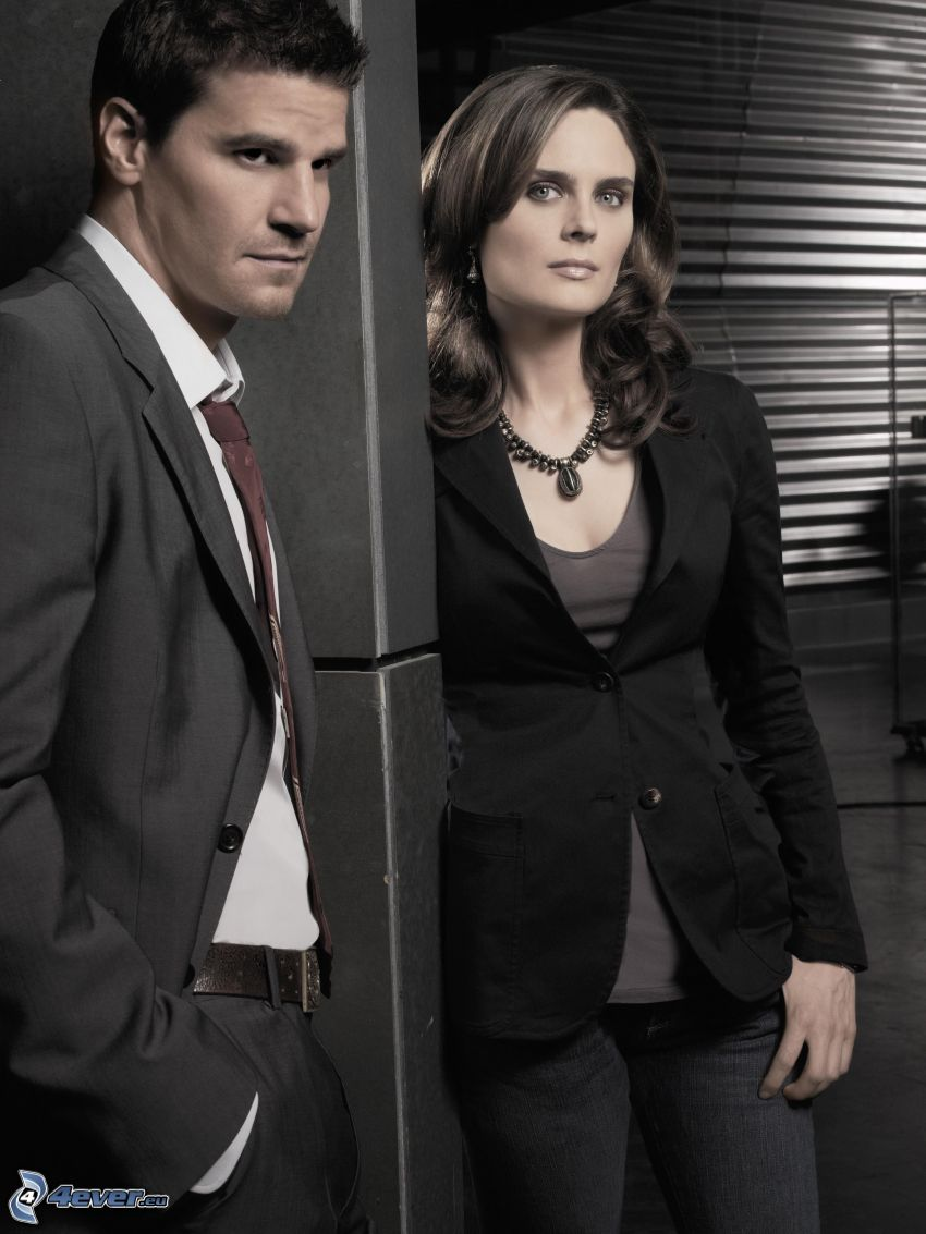 Kości, Seeley Booth, Emily Deschanel, Temperance Brennan, David Boreanaz
