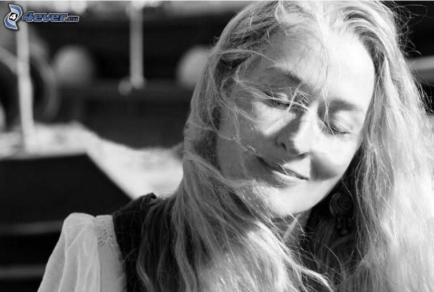 Mamma Mia!, Donna Sheridan, Meryl Streep, czarno-białe zdjęcie