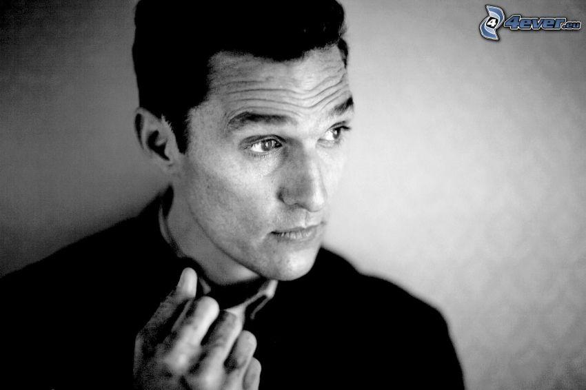 Matthew McConaughey, czarno-białe zdjęcie