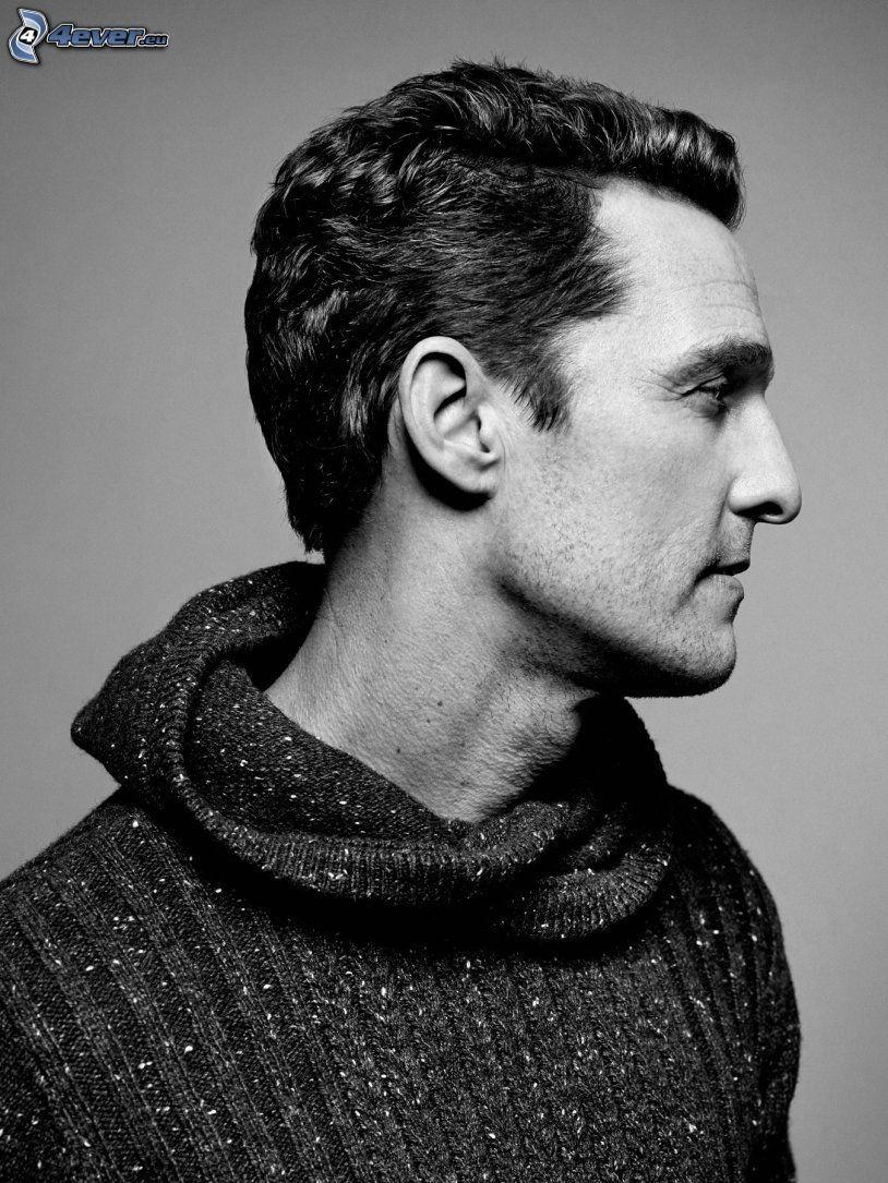 Matthew McConaughey, profil, czarno-białe zdjęcie