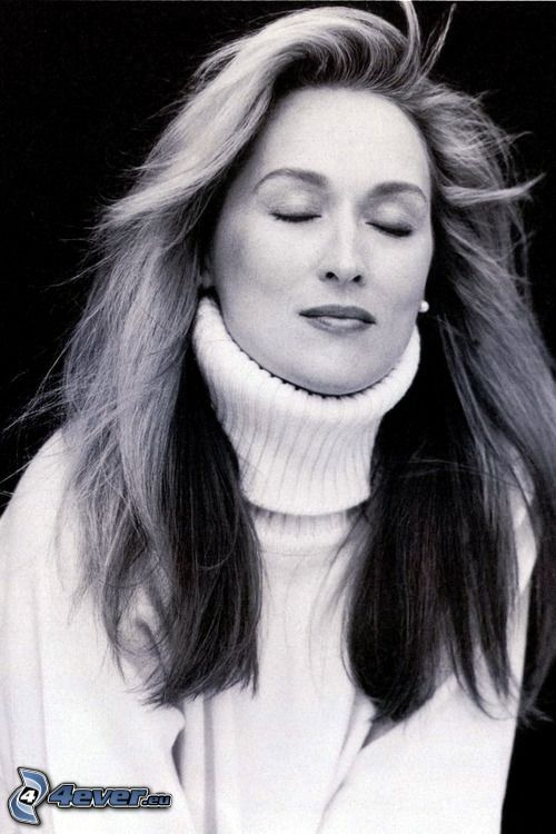 Meryl Streep, czarno-białe zdjęcie, marzyć
