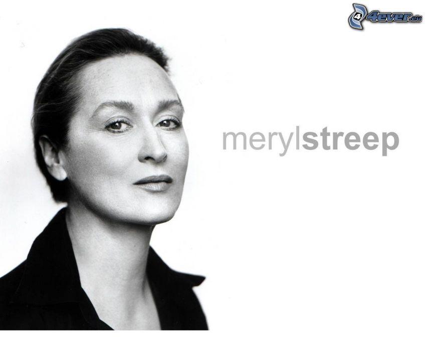 Meryl Streep, czarno-białe zdjęcie