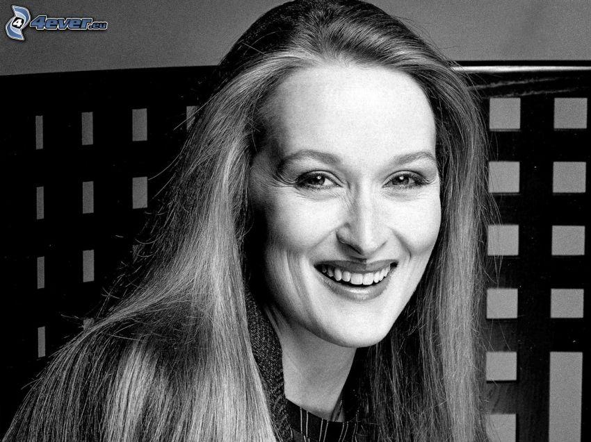 Meryl Streep, uśmiech, czarno-białe zdjęcie