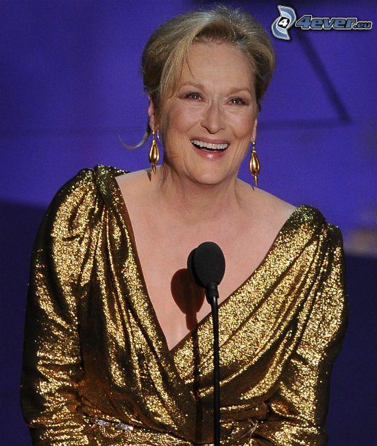 Meryl Streep, uśmiech, mikrofon