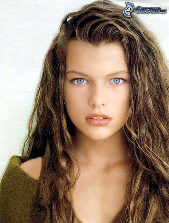 Milla Jovovich, modelka, oczy, spojrzenie