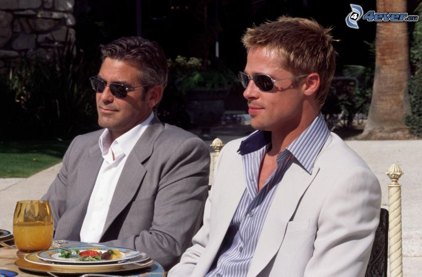 Ocean's Eleven: Ryzykowna gra, Brad Pitt, George Clooney