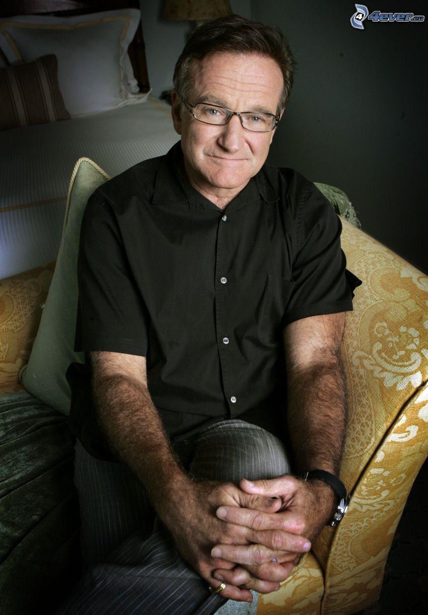 Robin Williams, mężczyzna w okularach, koszula
