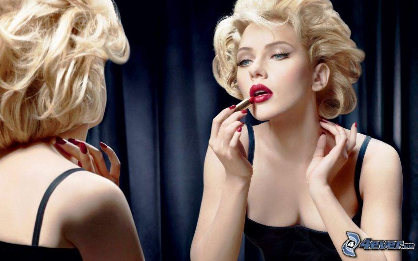 Scarlett Johansson, szminka, lustro, odbicie